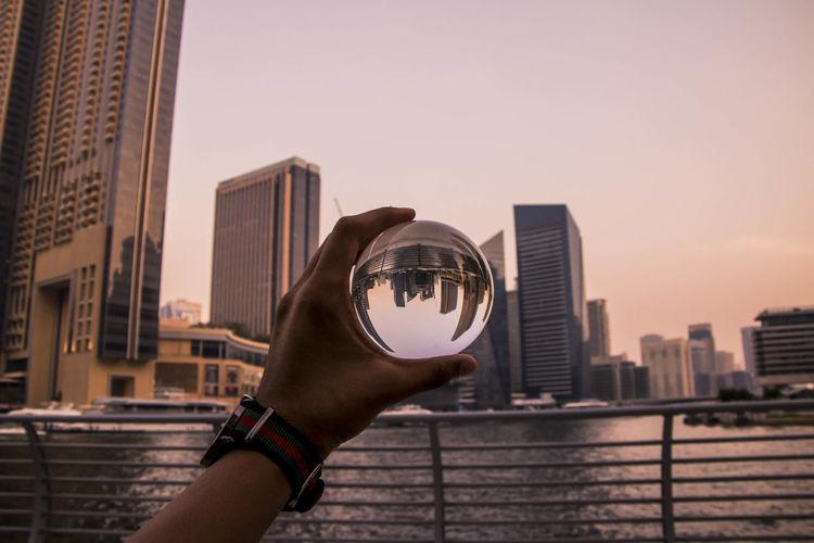 Sunset through a lens ball