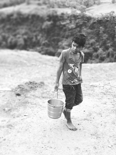 Sand Pail And Shovel Child Full Length Childhood Boys Standing Smiling Males  Bucket Watering Can