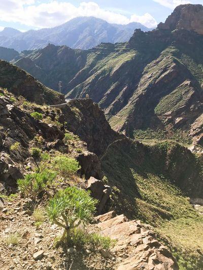 Gran Canaria Artenara Mountain Hiking Nature Landscape Mountain Range Beauty In Nature Green Color Awe Outdoors Scenics No People Day Sky