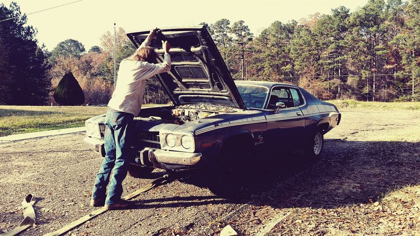 Day Outdoors Fall Colors Light And Shadow Outside Under The Hood Car Old Car Antique Car Vintage Cars Muscle Cars Needs Work ROAD RUNNER My Brother  Mississippi Life Hobby No Engine 1970s Plymouth Roadrunner Restoration Project Be. Ready.