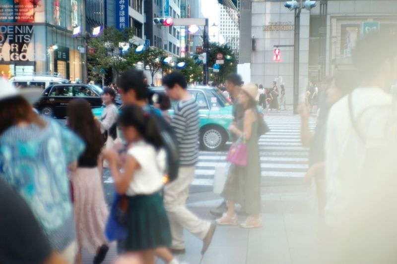 Busy ginza Leica Oldlens Vintagelens Nikkor LeicaM9 City Architecture Group Of People Street Building Exterior City Life Built Structure City Street Blurred Motion