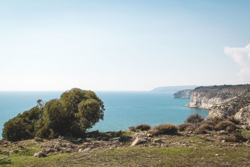 Beauty In Nature Cliff Copy Space Day Grass Horizon Over Water Kourion Landscape_Collection Nature No People Outdoors Scenics Sea Sky Summer Tranquil Scene Tranquility Travel Destination Water