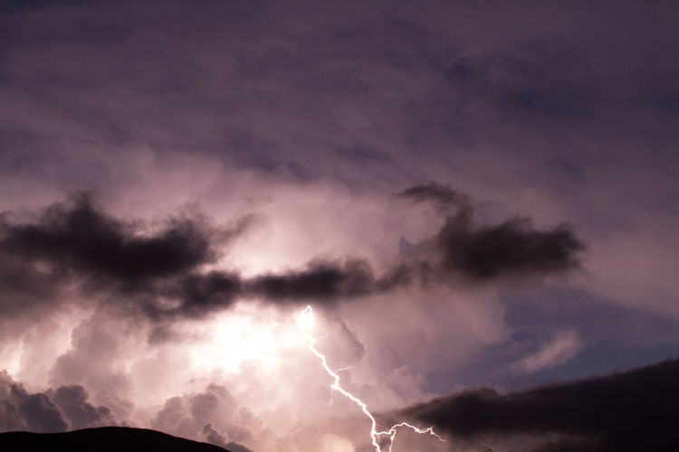 Low Angle View Of Lightning In Storm Clouds