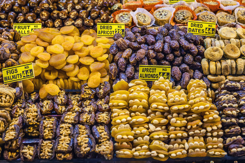 Full Frame Shot Of Various Dried Fruits At Market Stall