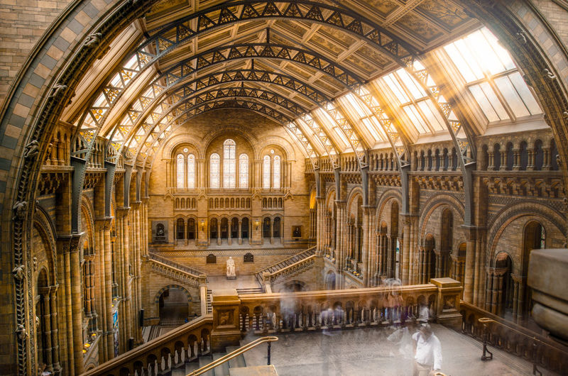 A picture taken in the natural history museum in london at sunset. The long exposure made using a 10 stop ND filter resulted in strangely blurred tourists. Amazing Antique Arch Architecture Beautiful Bookshelf Check This Out City Cool Day Education History Horizontal Indoors  Library Light London Museum Natural History Museum No People Old-fashioned Ray Sunlight Travel Destinations Wood - Material