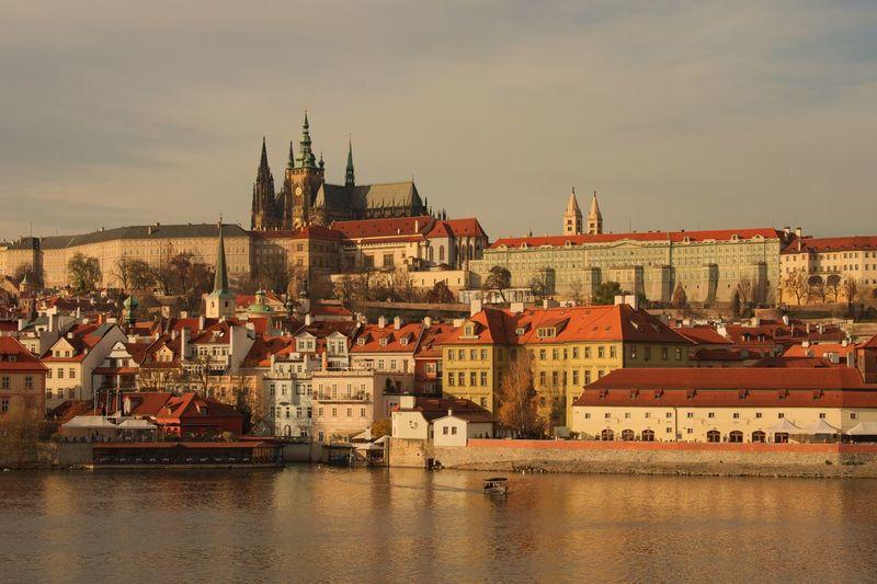 Architecture Built Structure Building Exterior Sky River Water City Waterfront Town No People Outdoors Cityscape Day Castle Prague Prague Castle