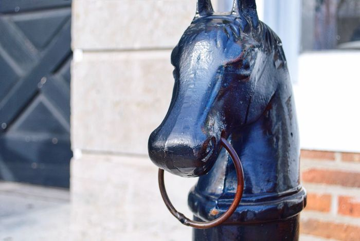 Antique black iron horse post on a village sidewalk. Horse Post Black Iron Wrought Iron Hitching Post Sidewalk Village Animal Themes No People Outdoors Close-up Day Hanging Architecture City