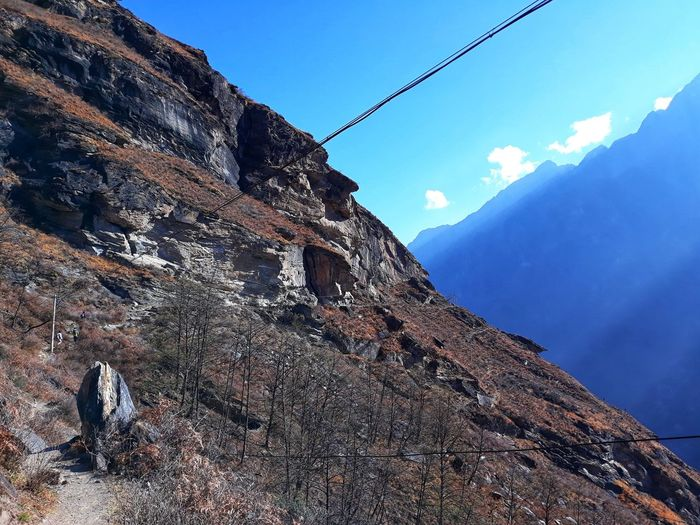 Hike Hiker Rock Mountain China Yangtze River Lijiang Tiger Leaping George Yunnan ,China Travel Sky Blue Sky Mountain Cable Telephone Line Sky Architecture Electricity  Power Cable Power Line