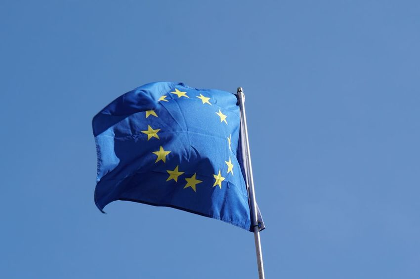European  European Union Blue Clear Sky Copy Space Day Eu Europe Flag Flag Of Europe Pole Sky Stars Waving Wind Yellow