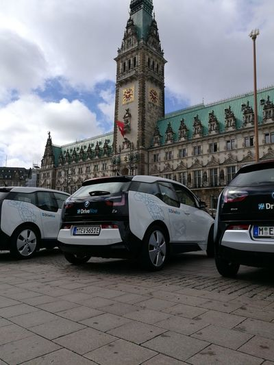 BMW I3 Car Clock Tower Travel Destinations Politics And Government Government Architecture Rathausmarkt Hamburg Building Exterior Sky City Hamburgmeineperle Emobility Drivenow