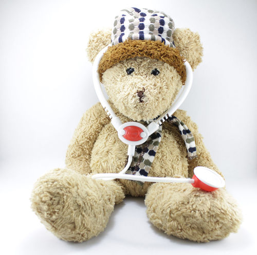 Teddy bear on a white background. Teddy Bear On A White Background. Childhood Close-up Day Doll Healthcare And Medicine Indoors  No People Physical Impairment Studio Shot Stuffed Toy Teddy Bear Toy White Background