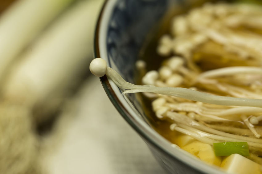 Bowl Close-up Enoki Mushrooms Food Food And Drink Freshness Healthy Eating Miso Soup Selective Focus