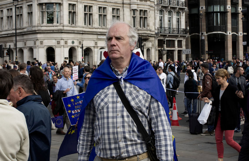 Brexit Protest Brexit Vote Protest Adult Adults Only Architecture Brexit Building Exterior Crowd Day Europe Large Group Of People Men Only Men Outdoors People Politics Portrait Protestor Real People Standing