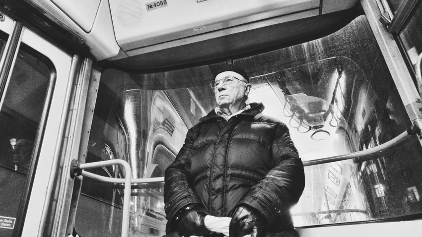 Streetphotography Street Photography Black And White Streetphoto_bw Vienna Bnw Streetphoto_bw Tram Train Elderly Old Man Candid Photography Candid Portraits Low Angle View Elephant Indoors  Day One Person Adult People