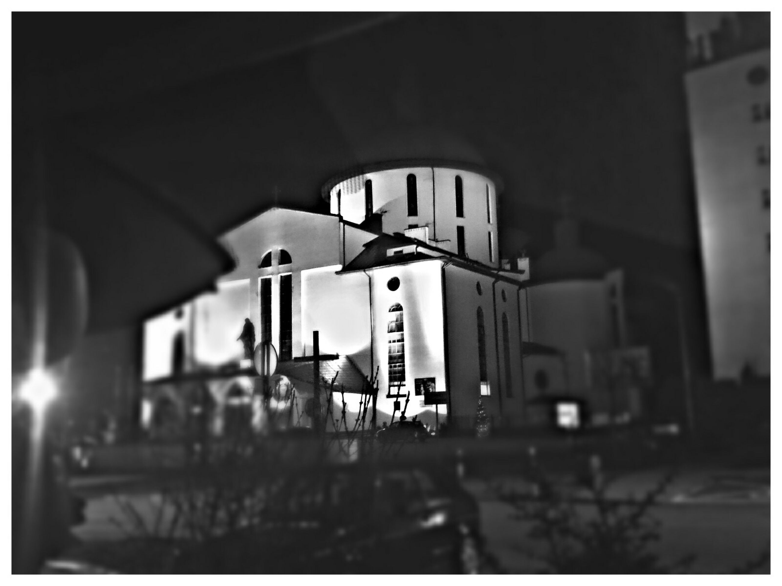 transfer print, architecture, built structure, illuminated, building exterior, auto post production filter, lighting equipment, night, transportation, city, indoors, incidental people, building, street light, city life, selective focus, street, public transportation, railroad station, no people