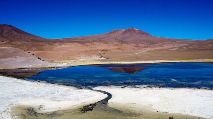 Nature Tranquility Mountain Beauty In Nature Tranquil Scene Geology Scenics Blue Landscape Arid Climate Volcanic Landscape Physical Geography Day Outdoors Travel Destinations No People Clear Sky Hot Spring Water Mountain Range Atacama / Chile 🇨🇱
