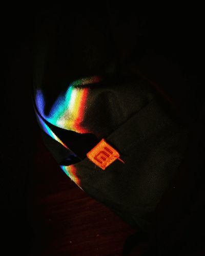 Rainbow Backpack Black Background Close-up