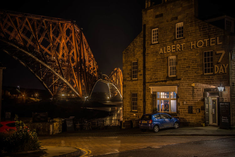 Forth Rail Bridge/Albert Hotel, North Queensferry Albert Hotel Bridge Famous Forth Forth Rail Bridge Illuminated Night North Queensferry Scotland World Heritage Pauldroberts EyeEmNewHere Your Ticket To Europe Been There.