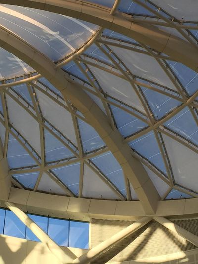 Architecture Sandton City Glass Dome Shapes Shapes , Lines , Forms & Composition White Different Perspective No People No Filter, No Edit, Just Photography Indoors  IPhoneography Creativity Daytime Natural Light Blue Sky Grey Diamond Shaped Beams Structure Roof Structure Glass Steel Art In Architecture Structural Art Eye Catching