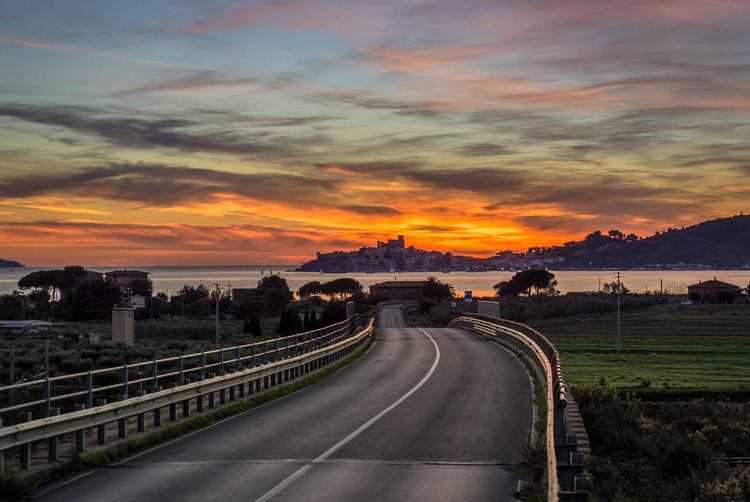 Talamone Sunset Cloud - Sky HDR Landscape Maremma Road Scenics Sky Sunset Talamone The Way Forward Tirreno