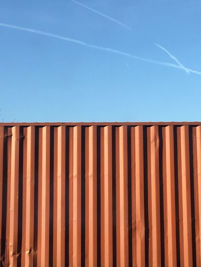 Cargo container against blue sky