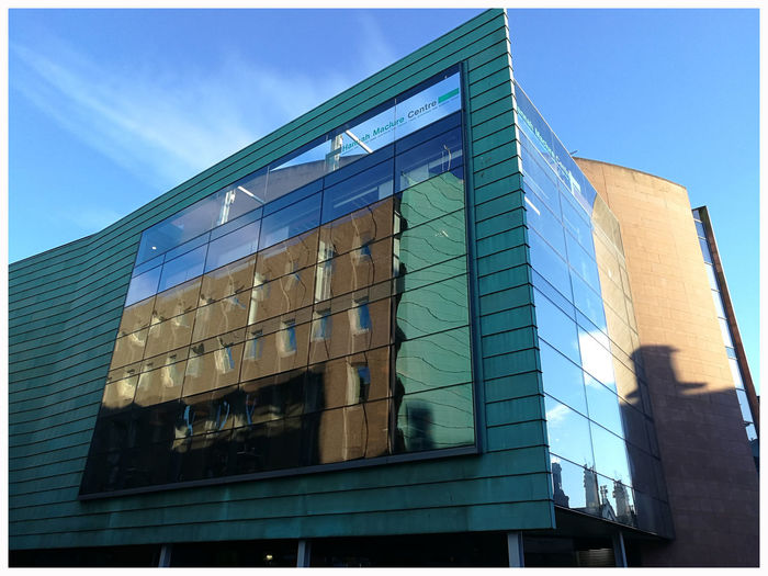 Reflection university of Abertay Architecture Building Exterior Sky Day Outdoors Low Angle View City Seat Of Learninggeometric shapes glass reflection modern style Light And Shadow