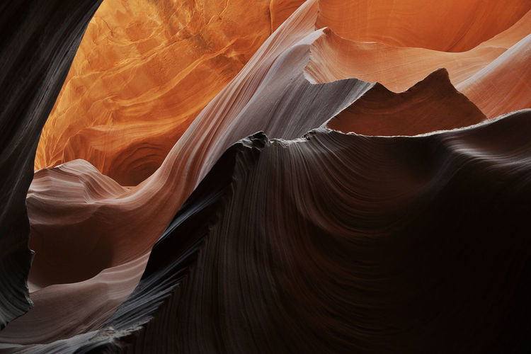 Low angle view of rock formations at antelope canyon
