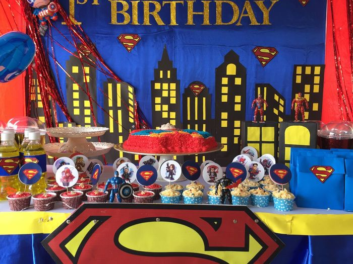 Birthday celebration Party Decoration Superheroes Bold Colors Theme Party Birthday Celebration! Celebration Birthday Party No People Architecture Art And Craft Multi Colored Built Structure Table Illuminated Decoration Arrangement