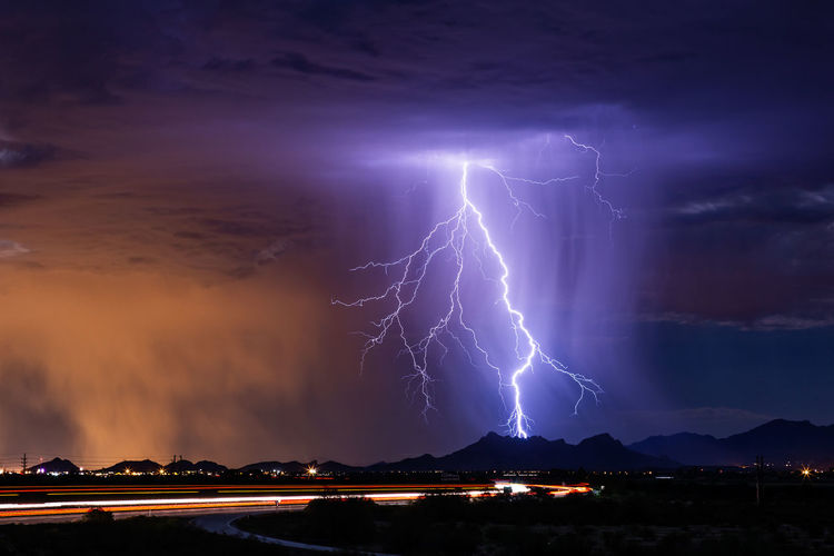Lightning strikes a mountain during a summer, monsoon thunderstorm over Tucson, Arizona. Lightning Power In Nature Cloud - Sky Storm Power Sky Thunderstorm Beauty In Nature Warning Sign Night Illuminated Storm Cloud Dramatic Sky Forked Lightning Nature Electricity  Outdoors Extreme Weather Cityscape Ominous Purple Monsoon Meteorology Stormy Weather Arizona Mountain Nature Background Thunderbolt Lightning Storm Lightning Bolt Lightning Strike Rain Rainstorm