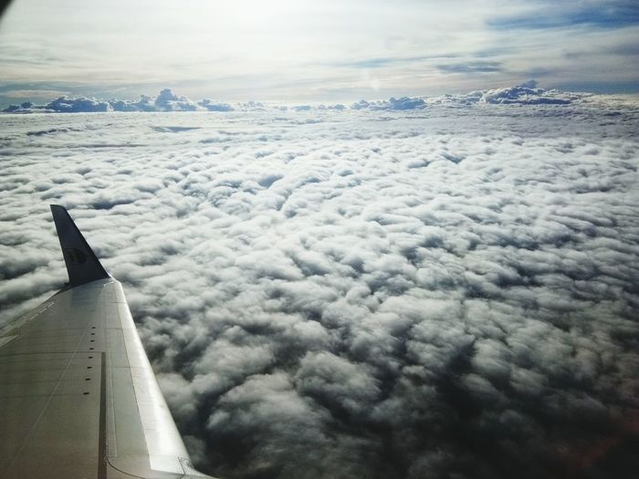 Airplane Cloud - Sky Transportation Sky Day Flying No People Nature Landscape Clouds Cloudfield White Airplanewing EyeEmNewHere