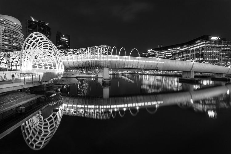 Travel Destinations A Destination Cityscape Webb Bridge Melbournesights Yarrarivermelbourne Reflections And Shadows Reflection Perfection  Night Scene Bridge Goalsandambitions Cross That Bridge Architecture_bw Architectural Feature Happiness Reflected Serenity