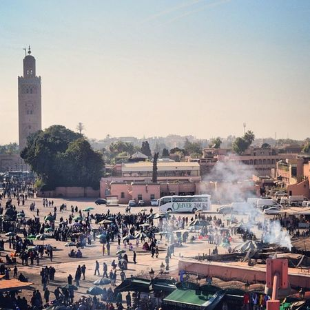 Busy Jemaaelfna Marrakesh Morroco 2014 souks mosque hot sunny followme like travelling travel backpack igers holiday mates memories goodtimes