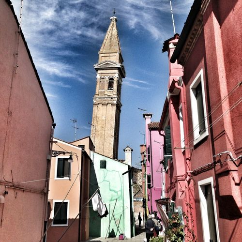 Architecture Building Exterior Built Structure Religion Sky Travel Destinations Place Of Worship Bell Tower - Tower Clock No People Outdoors Clock Tower Day Leaning Tower Venice Colourful Street