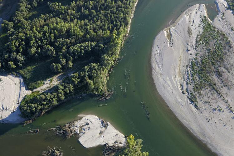 Aerial photo of gravel bars on the drava river