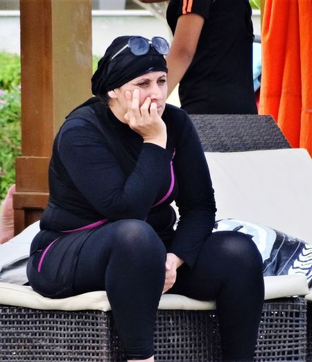 Fed Up Woman Covered Up Black Clothing Religion