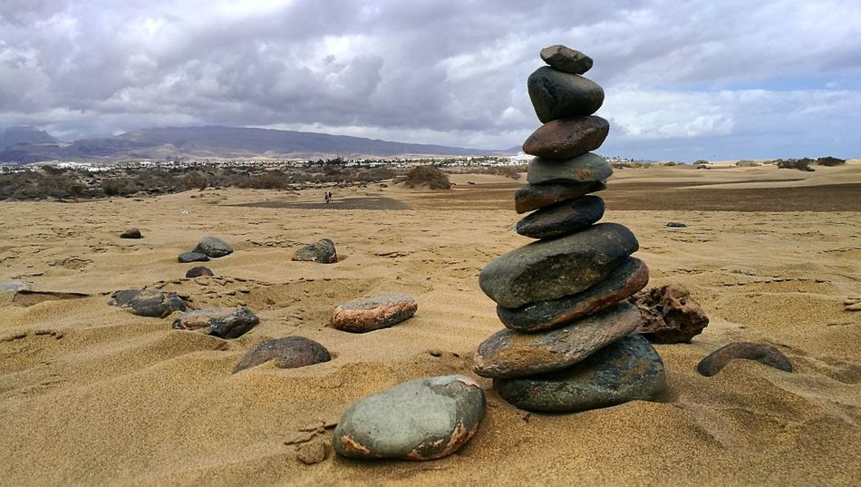 Stone - Object Cloud - Sky Zen-like Beach Nature Outdoors Day Journey Adventure Sand Dune Travel EyeEmNewHere EyeEmNewHere