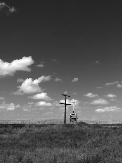 Companion Atmosphere Black And White Cloud Cloud - Sky Desert Scrub High Plains Landscape Lonely No People Outdoors Prairie Railroad Railroad Track Railway Sky Texture