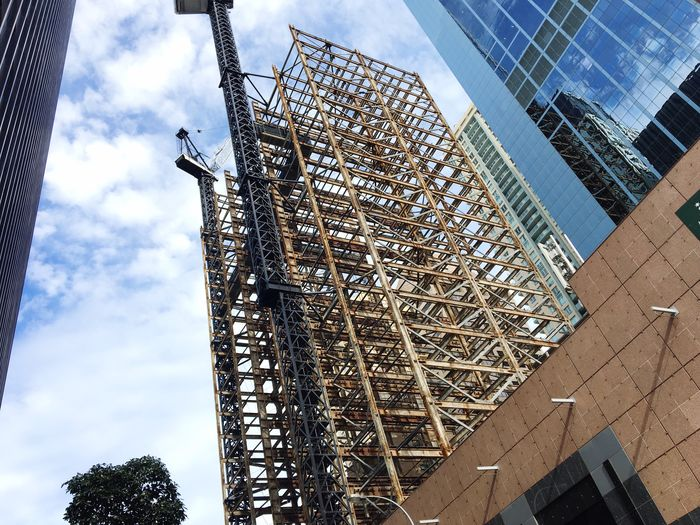 Autumn scaffolding. Architecture Built Structure Low Angle View Construction Site Building - Activity Sky Development Building Exterior Day Cloud - Sky Construction Frame Skyscraper No People Outdoors Technology