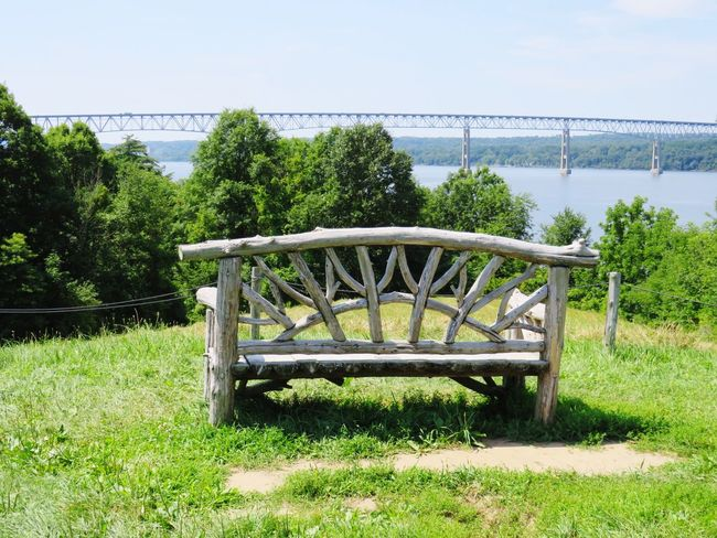 Tree Grass Water Day Outdoors No People Tranquility Sky Nature Beauty In Nature Hudson Valley Hudson River Field Landscape Bridge - Man Made Structure Kingston Rhinecliff Bridge Poetswalk Tranquility Investing In Quality Of Life EyeEmNewHere Breathing Space Wood Structure Park - Man Made Space