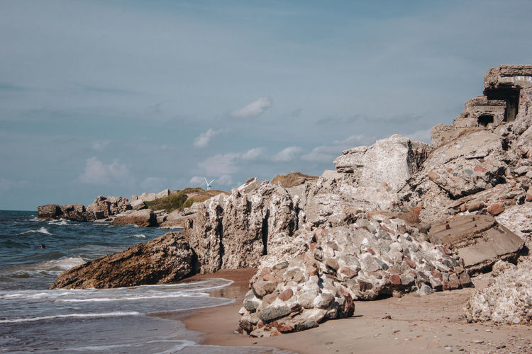 Latvia Latvija Liepaja Beach Beauty In Nature Cliff Cloud - Sky Day Land Nature No People Outdoors Rock Rock - Object Rock Formation Rocky Coastline Scenics - Nature Sea Sky Solid Tranquil Scene Tranquility Water