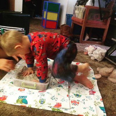 School time Earlyheadstart Boys Sand Cute Love Boymom Busyday
