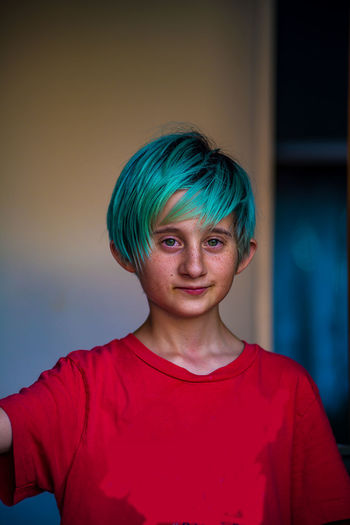 Portrait of boy with dyed hair