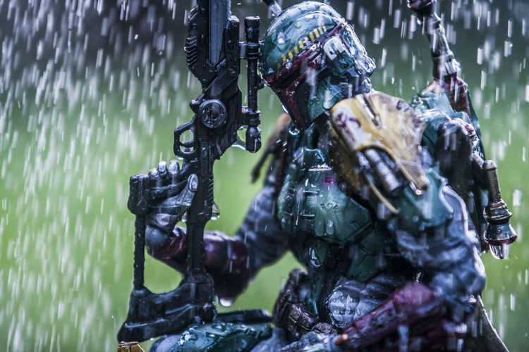 Art Art And Craft Bobafett Close-up Craft Creativity Day Focus On Foreground Hanging Human Representation Leaf Nature No People Outdoors Reflection Sculpture Selective Focus Starwars Statue Water Wet