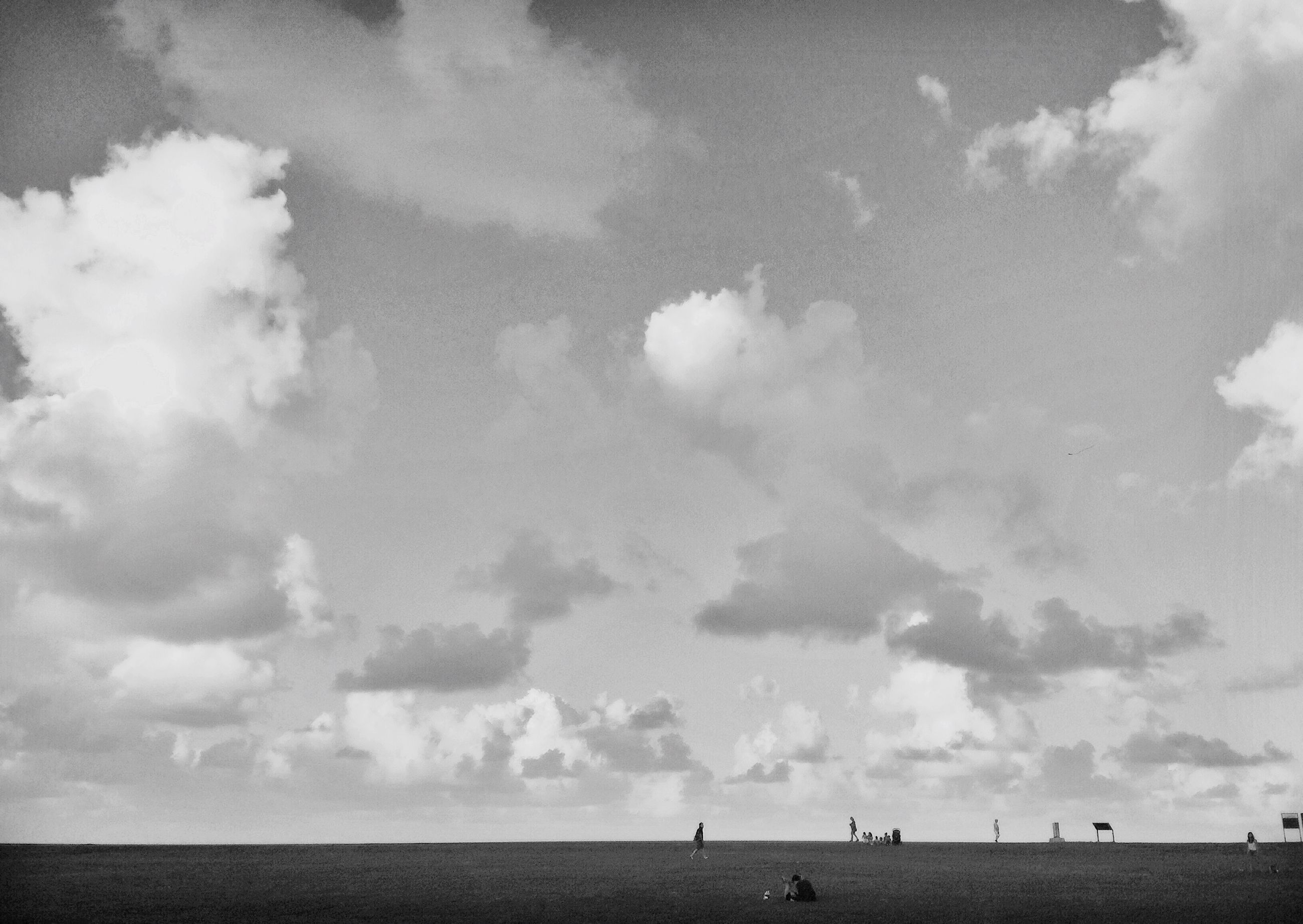 sky, tranquility, tranquil scene, landscape, cloud, field, nature, vacations, horizon over land, cloudscape, day, tourism, scenics, cloud - sky, outdoors, beauty in nature, sea, solitude, ocean, non-urban scene, distant, cloudy