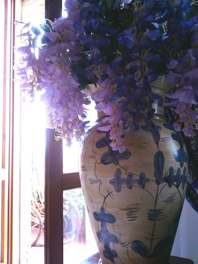 Flowers Vase Ornament Home Decor Home Decoration  Flower Decoration Visteria Purple Flower Purple Sunlight Flowers In A Vase Flowers In The Morning Light Light And Shadow Light Sunshine Dark And Light Vase Of Flowers Window Swing Chair Blossoms  Blooming Buquet Hanging Flowers Petals Fake Flowers