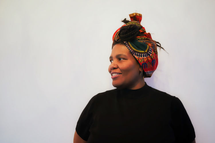 Portrait of a side view of an african-american woman