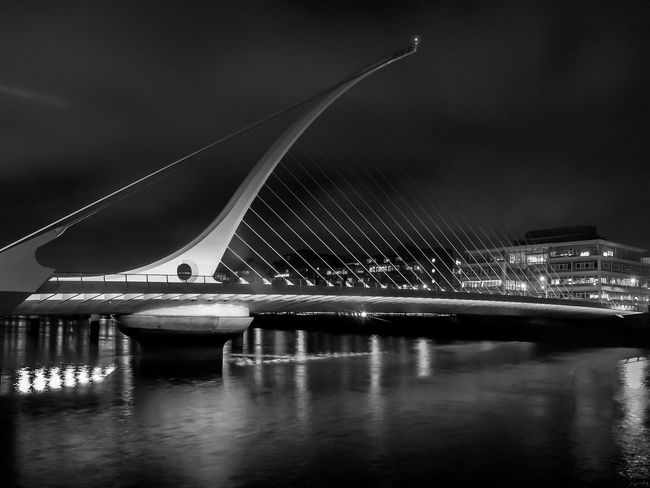 Samuel Beckett Bridge, Dublin, Ireland..... Cities At Night Bridge - Man Made Structure Built Structure Building Exterior EyeEm Best Shots Eye4photography  EyeEm Gallery EyeEm EyeEmBestPics EyeEm Best Shots - Black + White Blackandwhite Black & White Streetphotography Black And White Photography Street Photography Streetphoto_bw Dublin Ireland Outdoors City Cityscapes Popular Photos Nightphotography Digitalphotography Night Lights