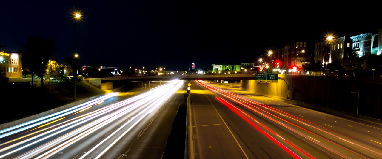 Blurred Motion City City Life Glowing Highway Illuminated Light Trail Long Exposure Motion Multi Colored Night No People Outdoors Road Speed Traffic Transportation Feel The Journey Denver Colorado The Innovator