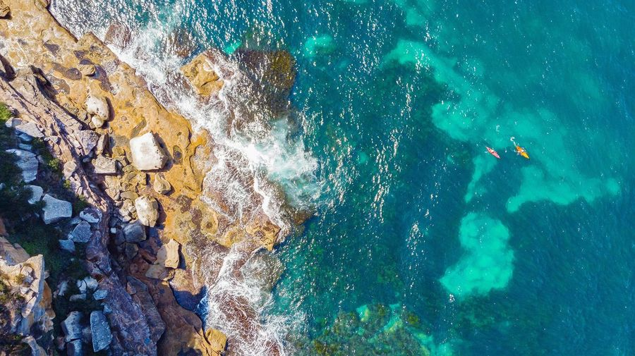 Paddle Drone  Aerial Photography Aerial View Seascape Coast Water Sea Australia Kayak Kayaking Kayaking Adventure Paddle Sydney UnderSea Water Backgrounds Full Frame High Angle View Sea Close-up Shore