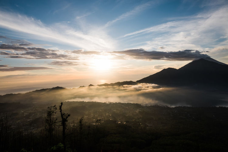 Sunrise view from mount batur on bali, indonesia
